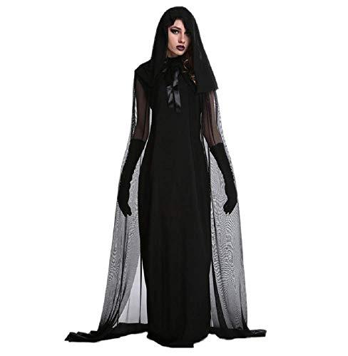 Talla XXL - Disfraz de Bruja - sacerdotisa - hechicera - Morticia - Novia Fantasma - Vampiro - Color Negro - Disfraz - Carnaval - Halloween - Cosplay - Accesorios - Mujer nia