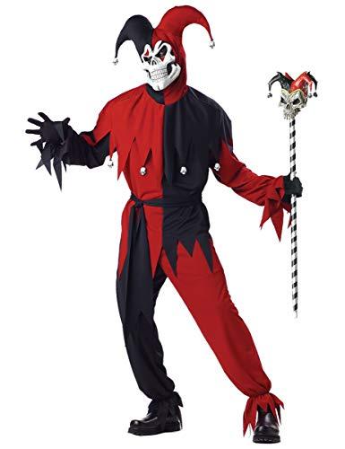 KULTFAKTOR GmbH Böser Clown Harlekin Halloween-Kostüm rot-schwarz S