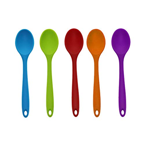 5PCS Soup Spoons,Cooking Spoons,Candy Color Mini Silicone Small Deep Spoon 20 cm (Random Color)