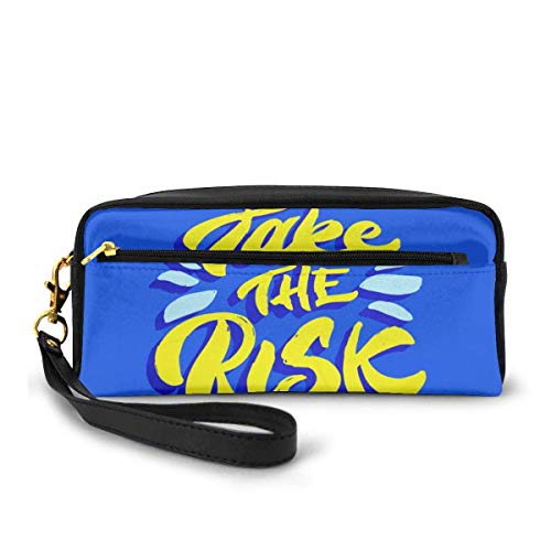 Yuanmeiju Quote Take The Risk Blue Makeup Bag Cosmetic Bag Mäppchen