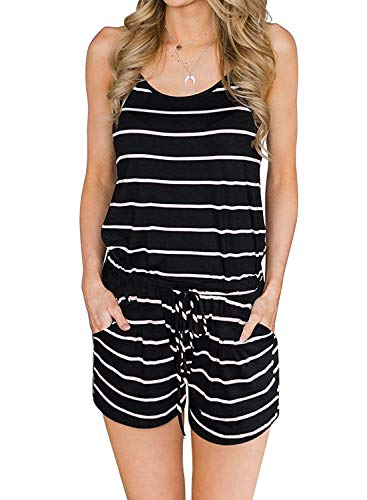 Artfish Womens Summer Loose Spaghetti Strap Lounge Pajamas Rompers Shorts Jumpsuits with Pocktes (01# Striped Black,L)
