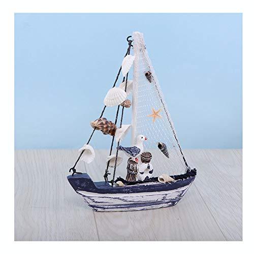 Guve Decorazione del Modello di Barca a Vela - Decorazione Natalizia per Barche a Vela in Legno, Tema Nautico in Spiaggia Piccolo Uccello e Conchiglie,20 * 4 * 27cm