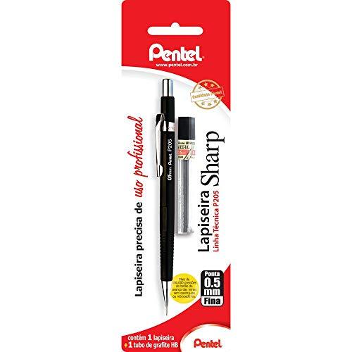 Lapiseira + Grafite, Pentel, Sharp P200, Preto, 0.5mm