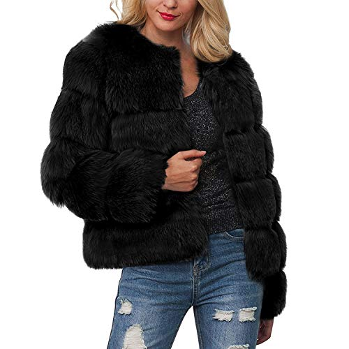 Women'S Clothing Worsted Coat Winter Casual Spandex Solid Fashion Standard Coats Jacket-Black-L