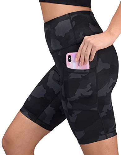 Yogalicious Womens High Waist Running Biker Shorts with Side Pockets - Black Camo 9 - Large
