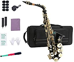 EastRock Students Beginners Alto Saxophone Black Laquer Gold Key E Flat with Hard Case,Mouthpiece,Mouthpiece Cushion Pads,Cleaning Cloth&Cleaning Rod,White Gloves,Alcohol Pads,Strap