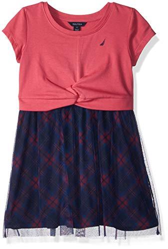 Nautica Girls' Toddler Short Sleeve Fashion Dress, Dark Pink Plaid, 4T