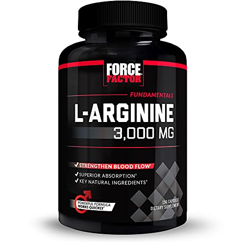 Force Factor L-Arginine Nitric Oxide Supplement with BioPerine to Help Build Muscle and Support Stronger Blood Flow, Circulation, Nutrient Delivery, and Pumps, L-Arginine 3000mg, 3g, 150 Capsules