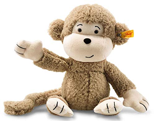 Steiff Affe Brownie - 30 cm - Plüschaffe mit langen Armen - Soft Cuddly Friends - Kuscheltier für Kinder - beweglich & waschbar - braun (060304)