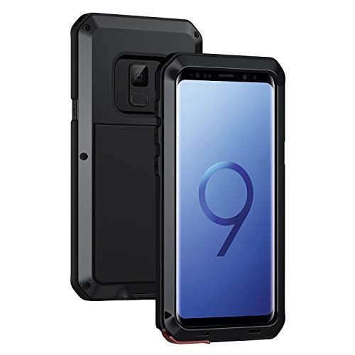 seacosmo Samsung Galaxy S9 Hülle, Tough Armor Aluminium Handyhülle S9 Doppelte Schutz Stoßfest Hülle Outdoor Schutzhülle für S9, Schwarz
