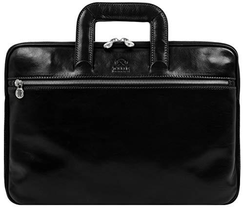 Leather Briefcase Bag Slim Laptop Messenger Black...