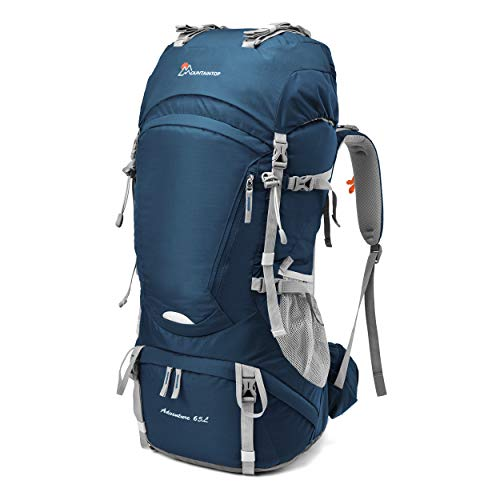 MOUNTAINTOP 60L/65L Trekkingrucksack Wanderrucksäcke für Camping, Wandern, Bergsteigen, Reisen mit Regenhülle