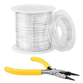 Craft Wire 20 Gauge Silver Jewelry Wire for Jewelry Making and Crafts with 26 Gauge Silver Wire and Pliers