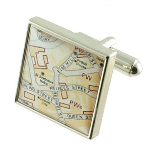Boutons de manchette Carte Cufflinks ~ Photo personnalisée Custom Map Cufflinks Choisir Cadeau Noir Pouch