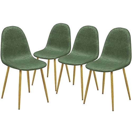 GreenForest Dining Chairs Set of 4, Anti-Dirty PU Leather Side Chairs Mid Century Modern Kitchen Room Chairs Upholstered with Sturdy Wood Look Metal Legs, Cactus/Green