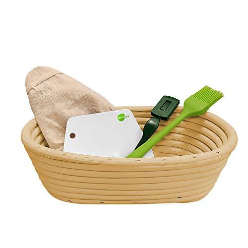 NUTRIUPS Oval Cuenco para Masas Forro Banneton Brotform Lino de 25cm Cuenco de Ratán Natural para Pan de Masa Madre Cesta de Mimbre para Levantar Masa