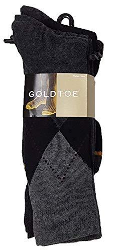 Gold Toe Men's Classic Casual Argyle 6-Pack Sock Bundle (Sock Size 6-12.5 fits Shoe Size 10-13, Black Argyle)