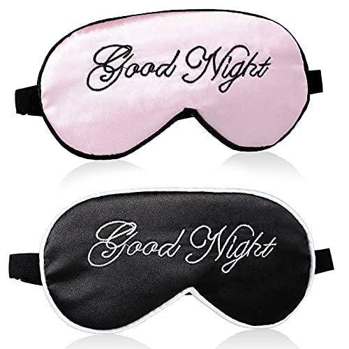 2 Stücke Seiden Schlaf Augenmaske für Damen und Herren Seiden Augenabdeckung Verstellbar Riemen Satin Nacht Augenbinde Lidschatten Abdeckung Seiden Schlafmaske für Nachtschlaf, Reise