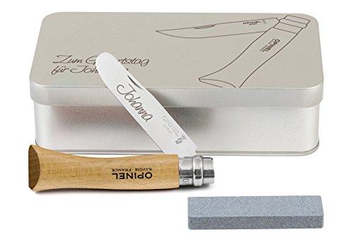 Opinel Kinder-Taschenmesser Buchenholz Geschenkdose inkl. Schleifstein und Wunschgravur auf Klinge + Dose