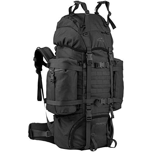 Wisport Trekking Rucksack 75L groß Damen & Herren + inkl. E-Book | kompakter Wanderrucksack schwarz | schwarzer Backpack großräumig | Expedition | Cordura | Black | Reindeer
