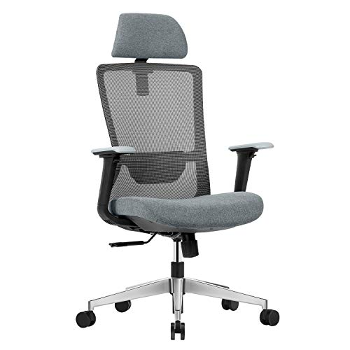 BELND Ergonomic Office Chair, High-Back Chair with Adjustable Headrest, Desk Chair with Adjustable 4D Armrests, Mesh Office Chair with Adjustable Lumbar Support and Thick Cushion