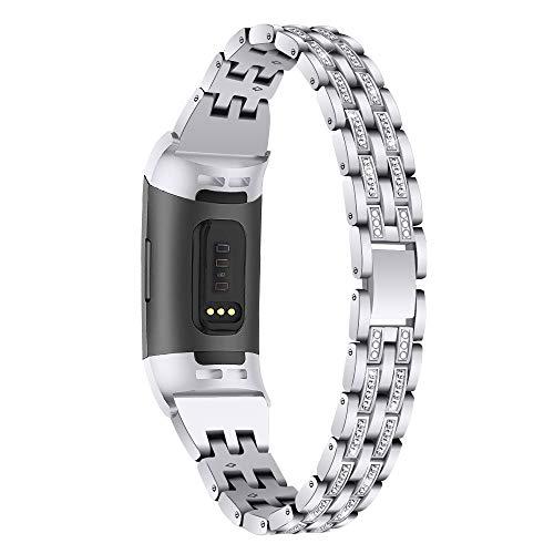 Aottom Cinturini compatibile per Cinturino Fitbit Charge 4 / Fitbit Charge 3, Donna Cinturini Gioiello Strass Glitter, Braccialetto Regolabile Fitbit Tracker, Orologio Polso Fitness Ricambio Accessori