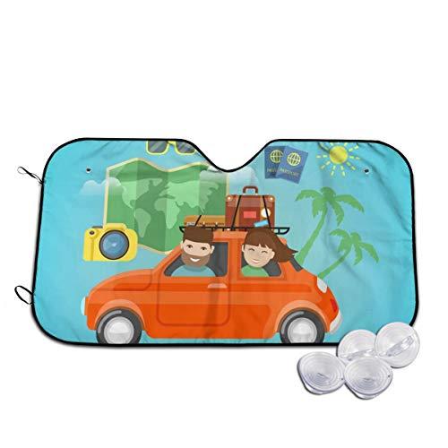 Pamala R Ramsey Front Windshield Sunshades Family Car Traveling Coconut Tree Camera Stylish Keep Vehicle Cool Sun Shield Glare Best Uv Ray Sun Visor Protector for Car,Truck,Golf Cart