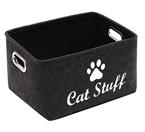 Geyecete Aufbewahrungskorb für Katzenkleidung und -zubehör, für Katzenspielzeug und Haustiere, mit Griffen, zusammenklappbar, für Büro, Schlafzimmer, Schrank, Spielzeug, Wäsche, Dunkelgrau