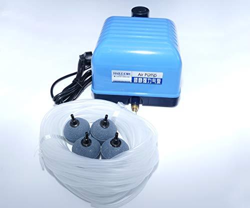 Luchtpomp set Aquarium zuurstof Aquarium Hailea V20 met siliconenslang 4/6 mm 4 en 4 poreuze stenen 50 mm