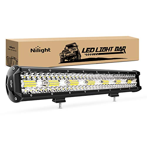 Nilight 18024C-A 420W 20Inch Triple Row Flood Spot Combo 42000LM Bar Driving Boat Led Off Road Lights for Trucks, 2 Years Warranty , White