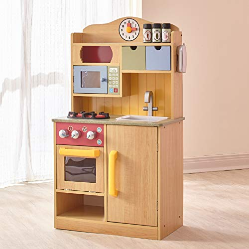Teamson Kids - Little Chef Wooden Toy Play Kitchen with Accessories - Burlywood
