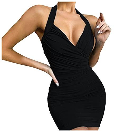 Xisimei Vestido de mujer sexy con cuello en V, sin mangas, corte ajustado, sin mangas, corte A, para verano, para la playa, fiesta, informal, sin mangas, vestido de verano, Negro , S