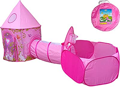 Princess Fairy Tale Castle Playhouse Tent with Crawl Tunnel & Ball Pit