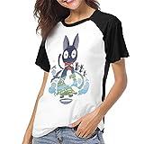 Kmehsv Damen Raglan Baseball T-Shirt Kiki's-Delivery-Service-Flying-Jiji Gedruckt Rundhalsausschnitt Lässige T-Shirts Tee Tops