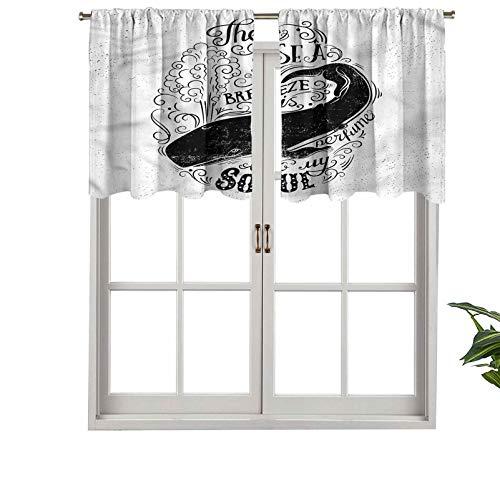 Hiiiman Cenefas de cortina opacas, cortinas cortas, con bolsillo para barra, Breeze is Perfume to My Soul, juego de 2, 42 x 24 pulgadas para cocina y baño