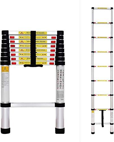 Scopri offerta per Todeco - Scala Telescopica, Scala Pieghevole - Carico massimo: 150 kg - Standard/Certificazione: EN131 - 2,6 Metri, EN 131