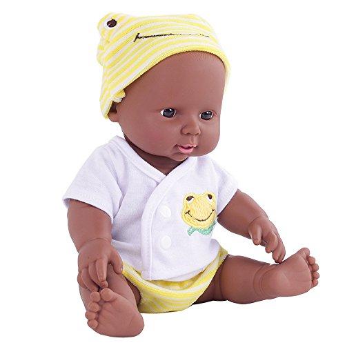 12shage Afrikanische Puppe Babypuppen Schwarze Puppen Spielzeug für Kinder Baby Lebensecht Puppe Mädchenpuppen Geburtstagsgeschenk (gelb)