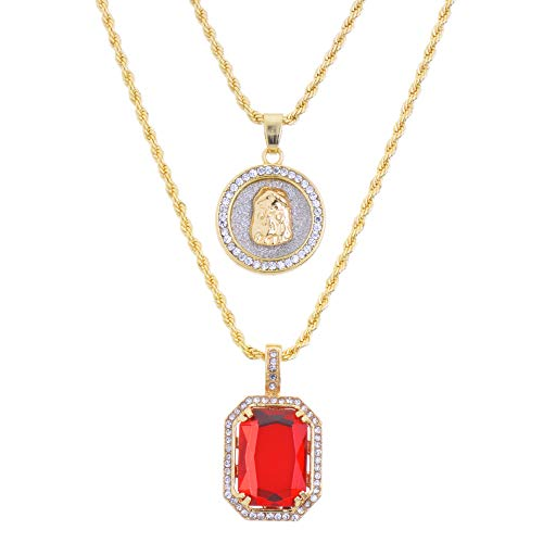metaltree98 14k Gold Plated Medallion Jesus & Red Ruby 22'&27' Combo Pendant Chain MHC 210 G