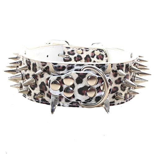 haoyueer Collar de perro con tachuelas afiladas de 5 cm de ancho, elegantes collares de piel para perros medianos y grandes Pitbull, labrador, boxeador Rottweiler pastor alemán... (S, blanco leopardo)