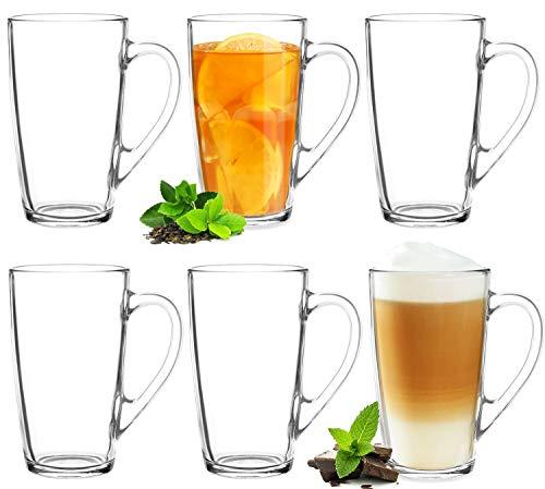 Teegläser Kaffeegläser mit Griff Set 6 Teilig 320ml (max. 400ml) Eisteeglas Groß Trinkglas Latte Macchiato Cappuccino