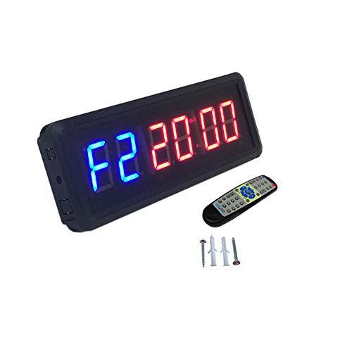 EVFIT Temporizador de Gimnasio Ledgital Gym Timer 1.5' Alto carácter intervalo de Reloj de Cuenta atrás for los Entrenamientos Tamaño w/Remoto Interior (Color : Black, Size : Digital Height 1.5inch)