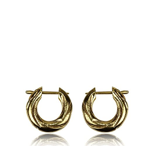 Chic-Net Pin Creolen Messing Brass antik golden verziert handgefertigt Ohrringe