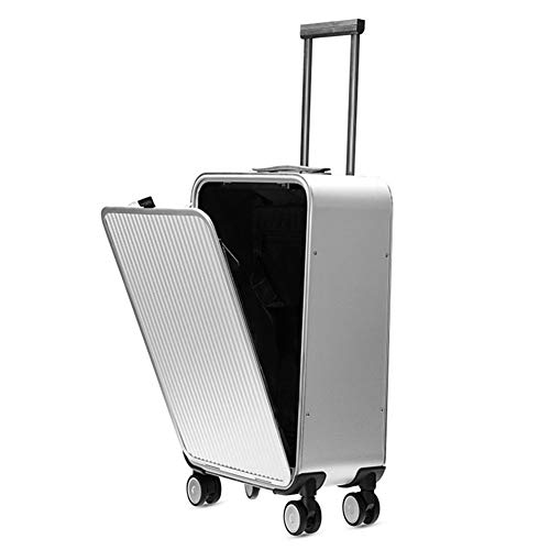L1 24in Aluminum-Magnesium Alloy Luggage Set With TSA Combination Lock And Double Glide Wheels, Ergonomic Telescoping Handle, Spinner Suitcase, Silver