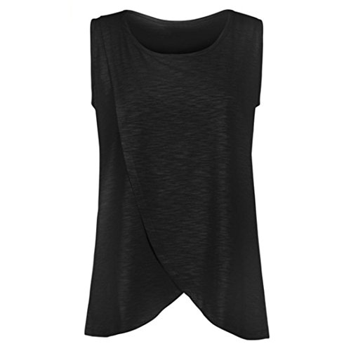 Camiseta de Mujer Maternidad de Doble Capa, Premamá Lactancia Blusa Sin Manga Camisas (D, 3XL)