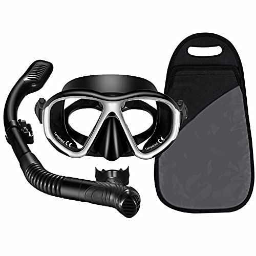 Adult Dry Snorkel Set, Anti Leak Mask and Snorkel Sets for Adult,Fog-Resistant Panoramic Wide View Tempered Glass Diving Mask, Free Breathing Scuba Mask and Snorkel Gear with Carrying BagScuba Diving