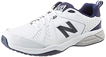 New Balance Mens EE Wide Fit Leather Sneakers  624  in White/Navy in UK 16.5  US 17/EU 52