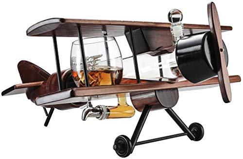 Xuan - worth having Copas de Vino Whisky Decanter Avión Conjunto Y Vidrios Avión de Madera Antiguo, Whisky Juego de Regalo y 2 Mapa del Mundo Gafas, Alcohol Regalo relacionado