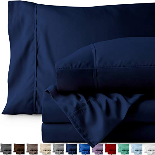 Bare Home Premium - Queen Size Sheets - 1800 Ultra-Soft Microfiber Collection Sheet Set - Double Brushed - Hypoallergenic - Wrinkle Resistant - Deep Pocket (Queen, Dark Blue)