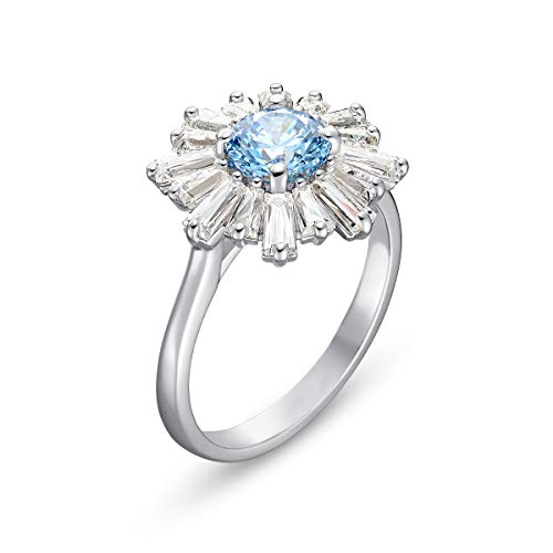 Swarovski Sunshine Collection Women's Sun Ring, with Blue and White Crystals in a Rhodium Plated Setting, Size 52, Swarovski 125 Anniversary Edition