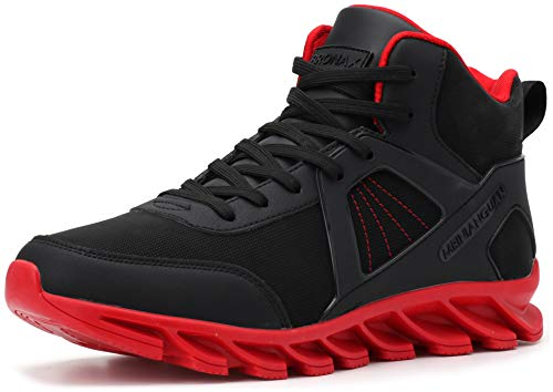 BRONAX High Top Sneakers for Men Classic Leather Waterproof Lace Up Slip Resistant Size 11 Hightop Workout Walking Wrestling Training Shoes for Youth Boys Basketball Sneakers Red and Black